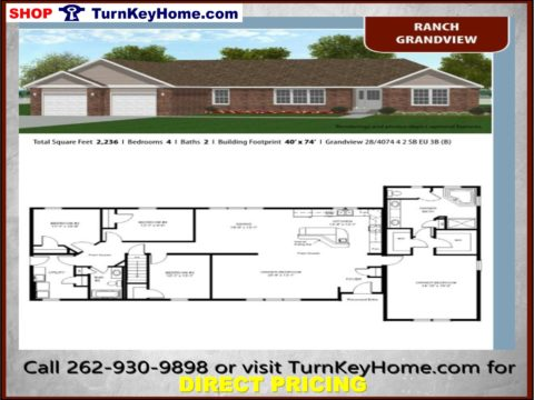 GRANDVIEW Ranch Home 4 Bed 2 Bath Plan 2236 SF Priced From Turn Key Home  Modular Plan Designs LIST: 191,849 DIRECT: 156,967 SAVE: 34,882