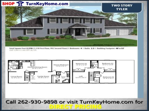 Delicieux TYLER Two Story Home 4 Bed 2.5 Bath Plan 2510 SF Priced From  TurnKeyHome.com Modular Plan Designs LIST: 207,075 DIRECT: 169,425 SAVE:  37,650
