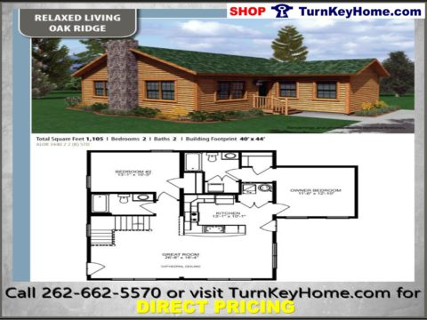 Oak Ridge Cabin Stlye Home 2 Bed Bath Plan 1105 Sf Priced From Turnkeyhome Modular Designs